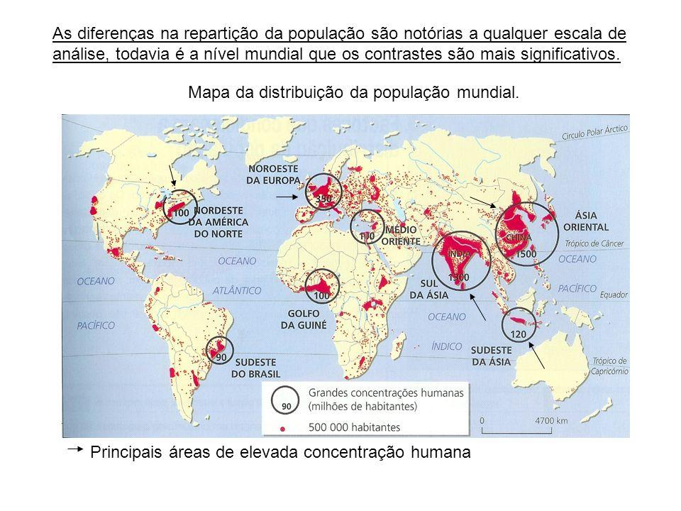 A distribuição da população mundial Conceitos: Densidade populacional (DP): relação entre a população absoluta de uma dada área e a superfície pela qual se distribui.