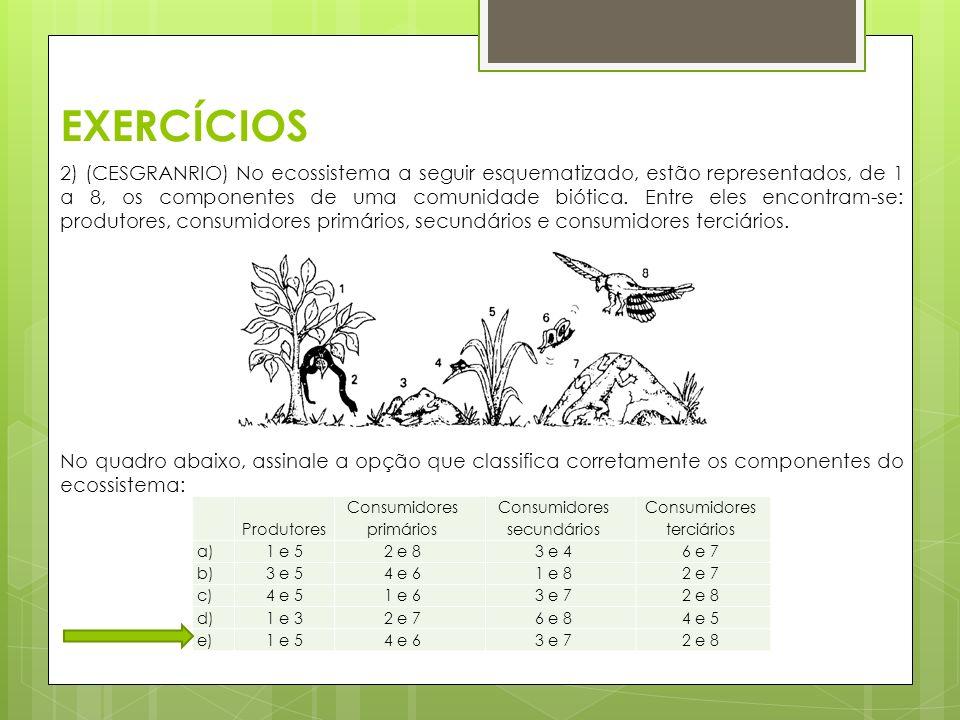 EXERCÍCIOS 2) (CESGRANRIO) No ecossistema a seguir esquematizado, estão representados, de 1 a 8, os componentes de uma comunidade biótica. Entre eles