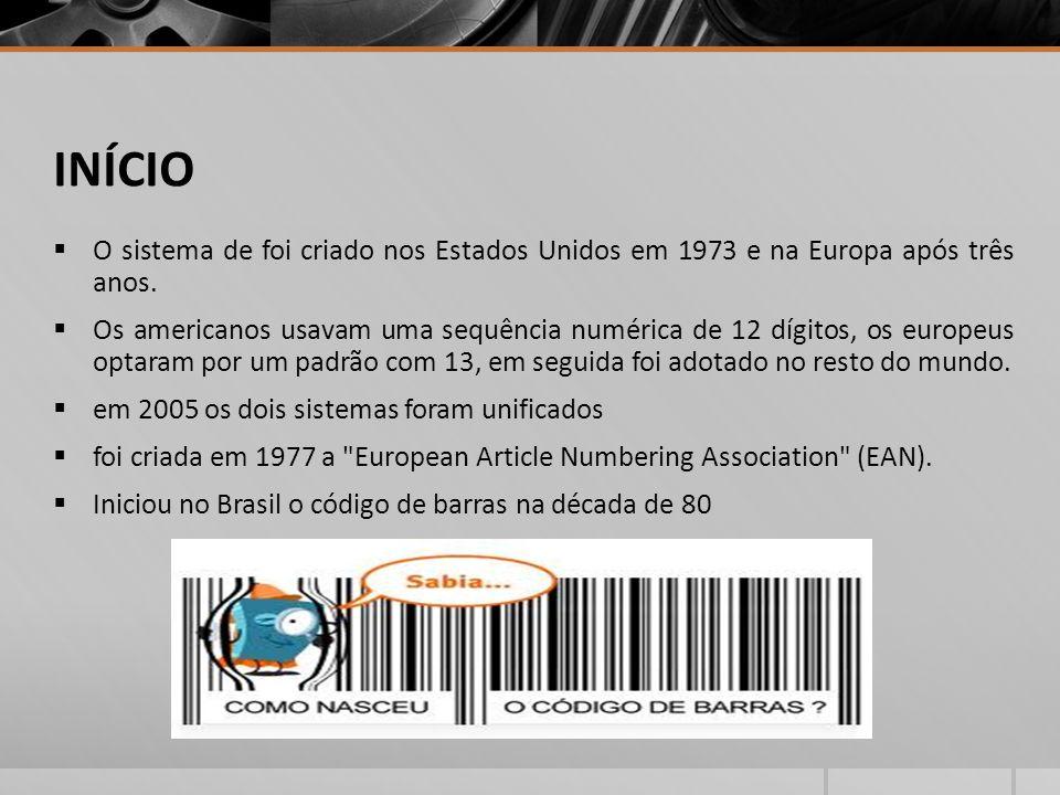 ESPECIFICAÇÕES - EAN13 e EAN 08  Em 1983 a EAN Brasil foi fundada com a incumbência de disseminar e coordenar a codificação destes produtos.