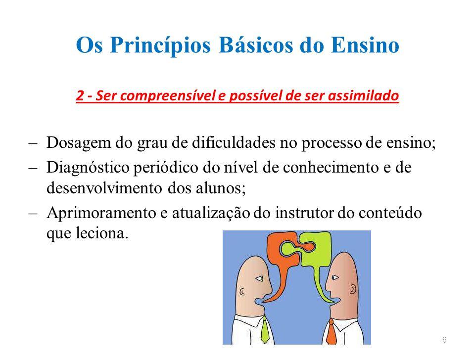 Os Princípios Básicos do Ensino 2 - Ser compreensível e possível de ser assimilado –Dosagem do grau de dificuldades no processo de ensino; –Diagnóstic