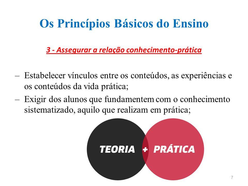 Os Princípios Básicos do Ensino 3 - Assegurar a relação conhecimento-prática –Estabelecer vínculos entre os conteúdos, as experiências e os conteúdos da vida prática; –Exigir dos alunos que fundamentem com o conhecimento sistematizado, aquilo que realizam em prática; 7