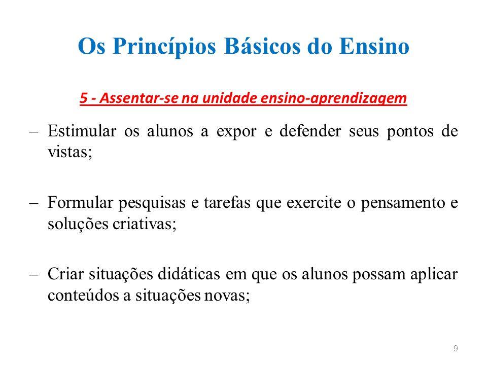 Os Princípios Básicos do Ensino 5 - Assentar-se na unidade ensino-aprendizagem –Estimular os alunos a expor e defender seus pontos de vistas; –Formula