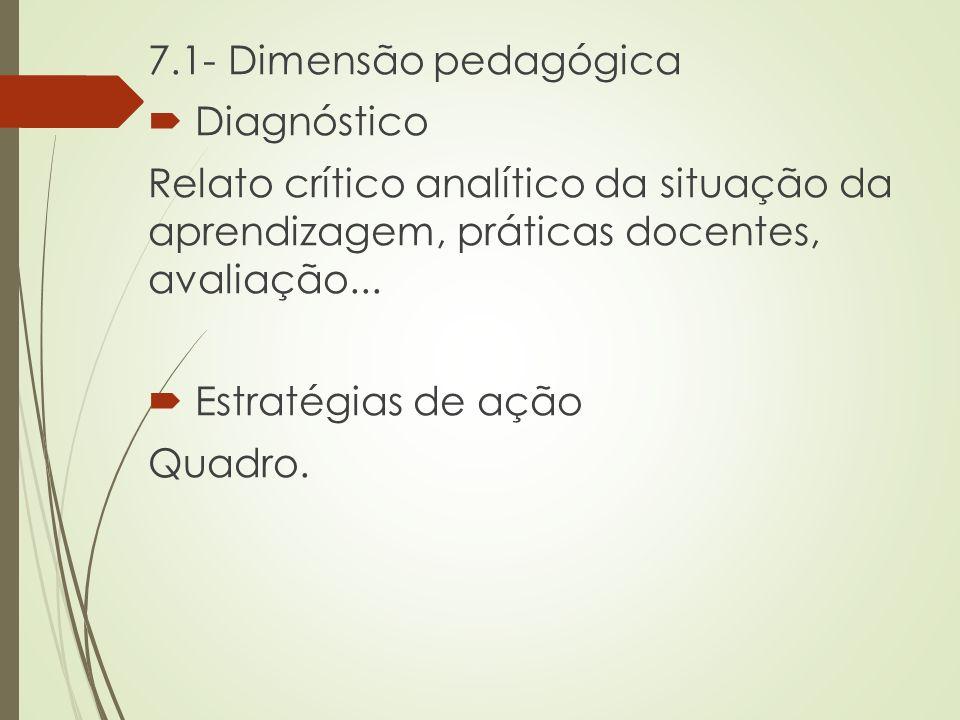 7.1- Dimensão pedagógica  Diagnóstico Relato crítico analítico da situação da aprendizagem, práticas docentes, avaliação...  Estratégias de ação Qua