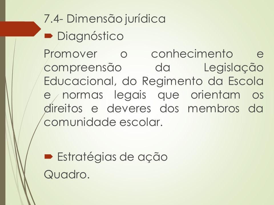 7.4- Dimensão jurídica  Diagnóstico Promover o conhecimento e compreensão da Legislação Educacional, do Regimento da Escola e normas legais que orien