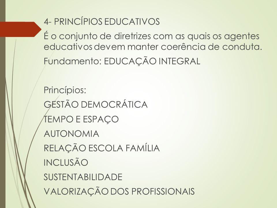 4- PRINCÍPIOS EDUCATIVOS É o conjunto de diretrizes com as quais os agentes educativos devem manter coerência de conduta. Fundamento: EDUCAÇÃO INTEGRA