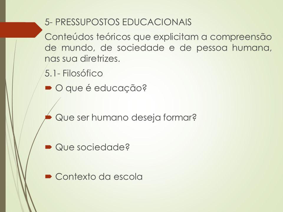 5- PRESSUPOSTOS EDUCACIONAIS Conteúdos teóricos que explicitam a compreensão de mundo, de sociedade e de pessoa humana, nas sua diretrizes. 5.1- Filos