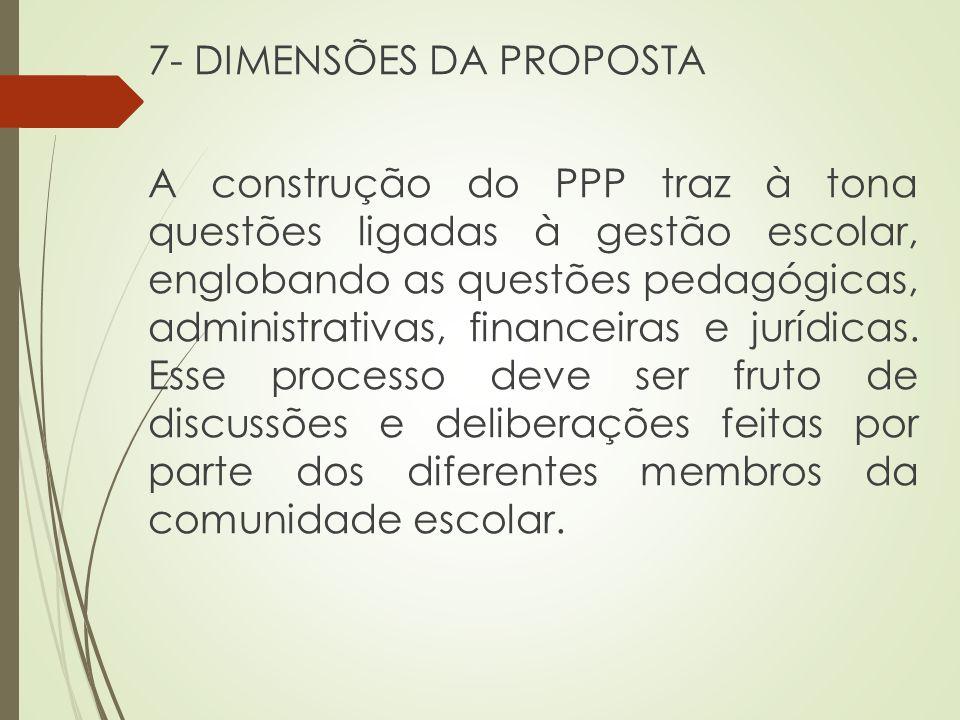 7- DIMENSÕES DA PROPOSTA A construção do PPP traz à tona questões ligadas à gestão escolar, englobando as questões pedagógicas, administrativas, finan