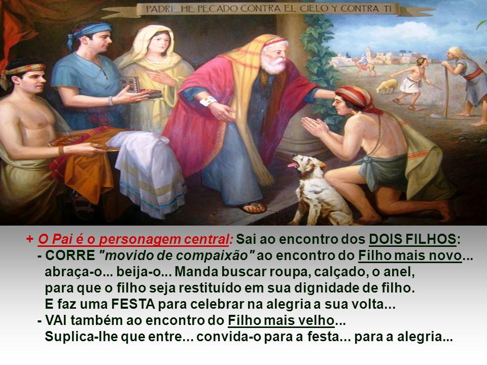 + O Pai é o personagem central: Sai ao encontro dos DOIS FILHOS: - CORRE movido de compaixão ao encontro do Filho mais novo...