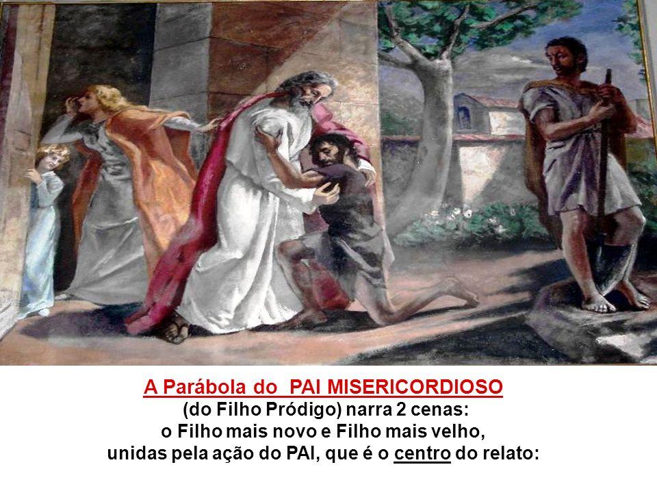 A Parábola do PAI MISERICORDIOSO (do Filho Pródigo) narra 2 cenas: o Filho mais novo e Filho mais velho, unidas pela ação do PAI, que é o centro do relato: