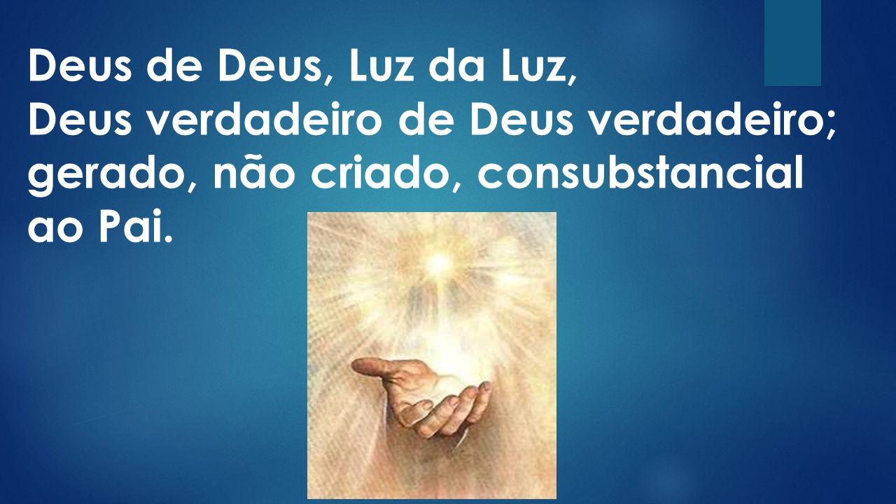 Deus de Deus, Luz da Luz, Deus verdadeiro de Deus verdadeiro; gerado, não criado, consubstancial ao Pai.