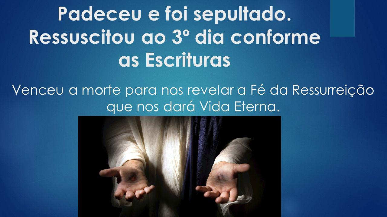 Venceu a morte para nos revelar a Fé da Ressurreição que nos dará Vida Eterna.