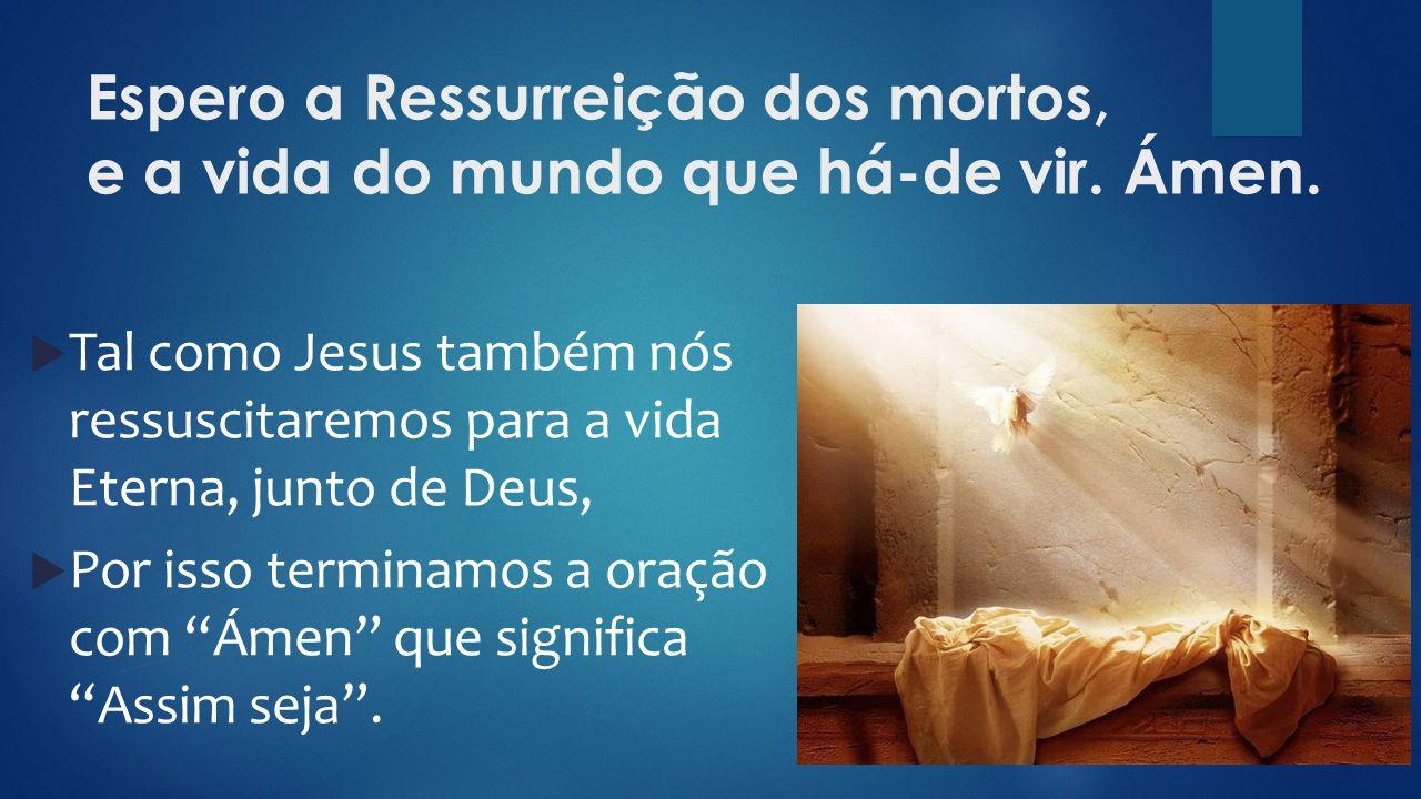 Espero a Ressurreição dos mortos, e a vida do mundo que há-de vir.