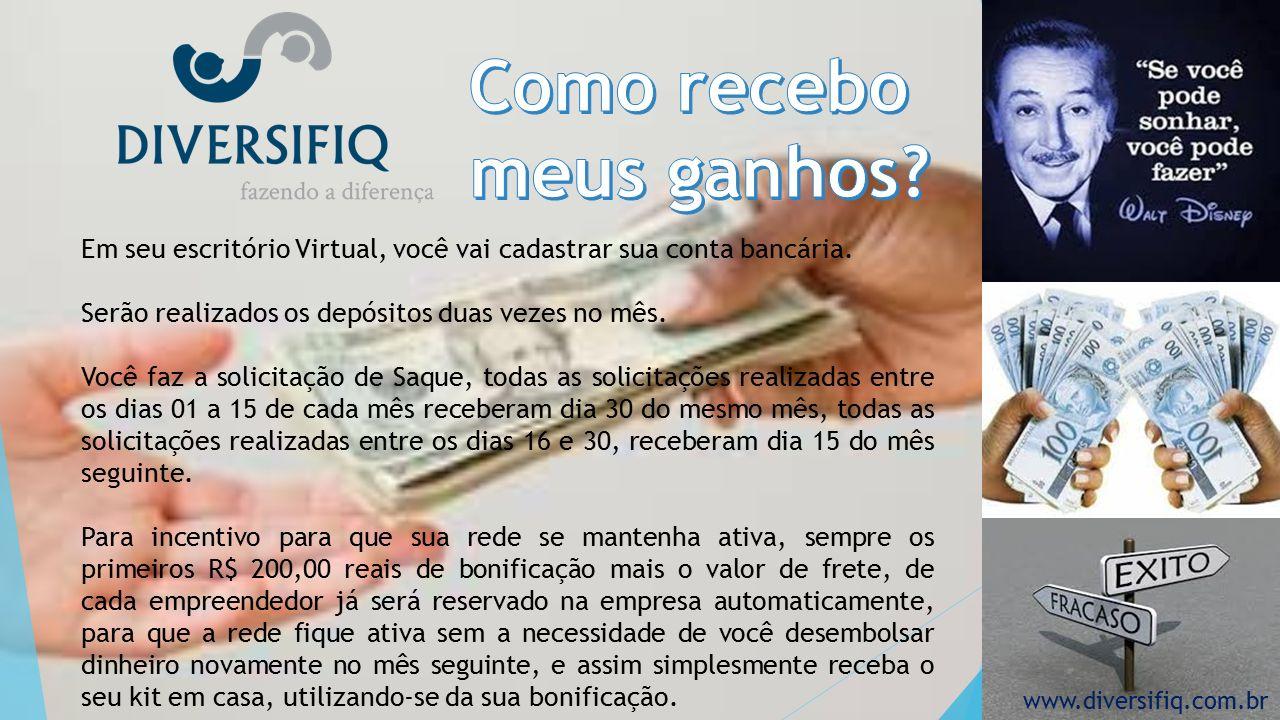 Em seu escritório Virtual, você vai cadastrar sua conta bancária.