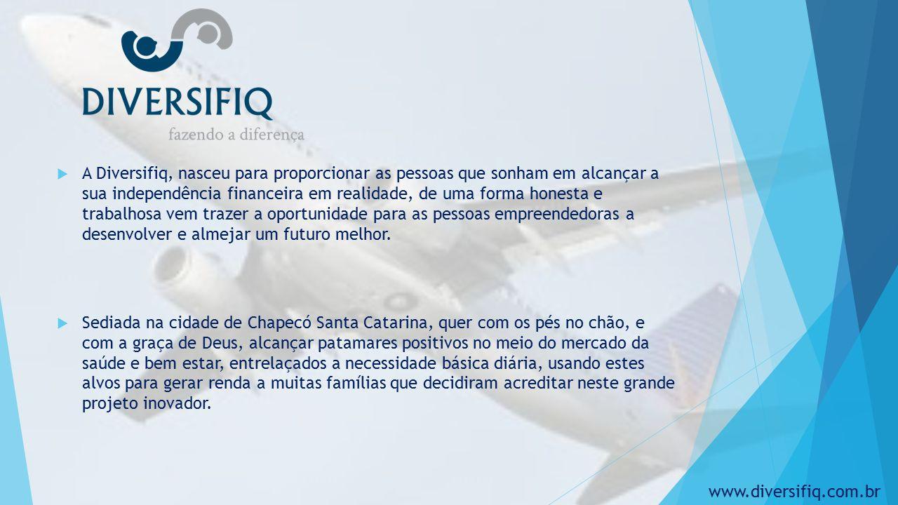  A Diversifiq, nasceu para proporcionar as pessoas que sonham em alcançar a sua independência financeira em realidade, de uma forma honesta e trabalhosa vem trazer a oportunidade para as pessoas empreendedoras a desenvolver e almejar um futuro melhor.