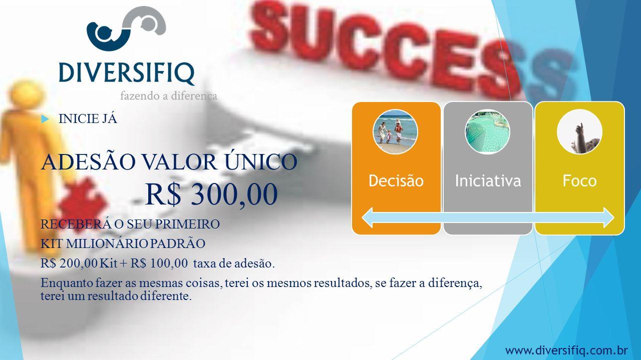  INICIE JÁ ADESÃO VALOR ÚNICO R$ 300,00 RECEBERÁ O SEU PRIMEIRO KIT MILIONÁRIO PADRÃO R$ 200,00 Kit + R$ 100,00 taxa de adesão.