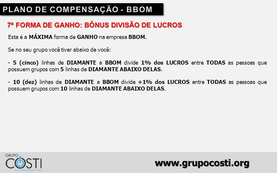 www.grupocosti.org 7ª FORMA DE GANHO: BÔNUS DIVISÃO DE LUCROS Esta é a MÁXIMA forma de GANHO na empresa BBOM.