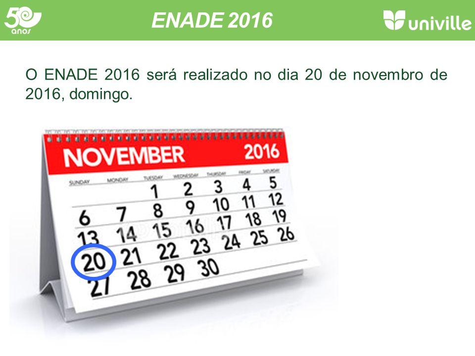Inscrição A inscrição é realizada pela Univille. ENADE 2016 InscriçãoProva Questionário