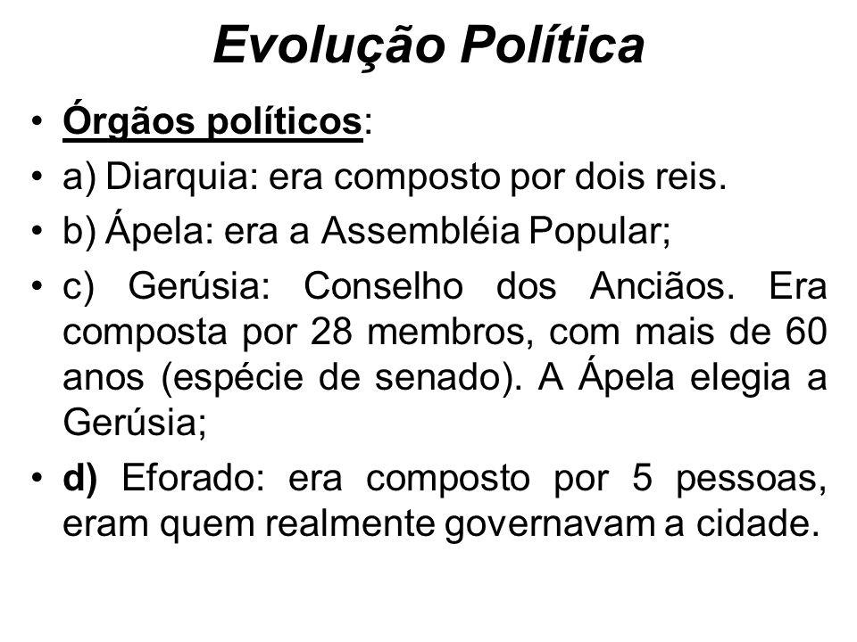 Evolução Política Órgãos políticos: a) Diarquia: era composto por dois reis.