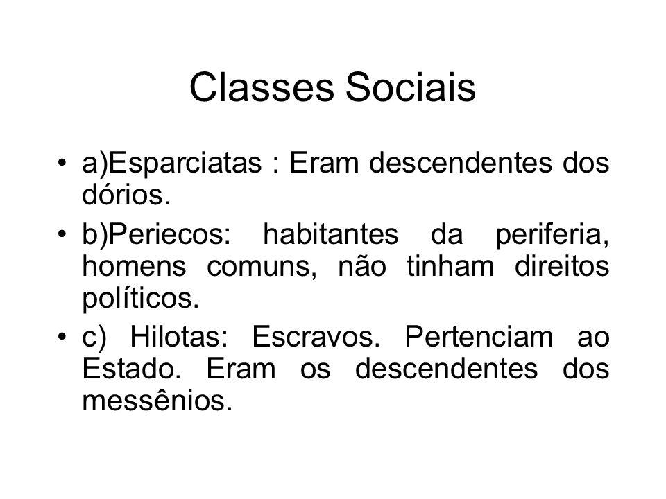 Classes Sociais a)Esparciatas : Eram descendentes dos dórios.