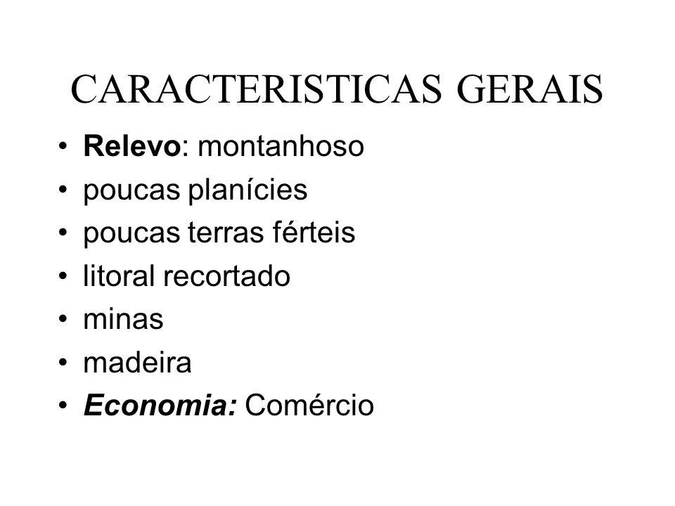 CARACTERISTICAS GERAIS Relevo: montanhoso poucas planícies poucas terras férteis litoral recortado minas madeira Economia: Comércio