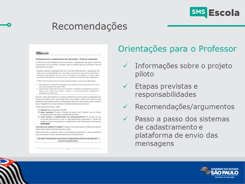 Recomendações Informações sobre o projeto piloto Etapas previstas e responsabilidades Recomendações/argumentos Passo a passo dos sistemas de cadastramento e plataforma de envio das mensagens Orientações para o Professor