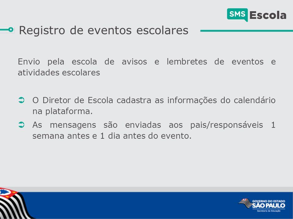 Envio pela escola de avisos e lembretes de eventos e atividades escolares  O Diretor de Escola cadastra as informações do calendário na plataforma.