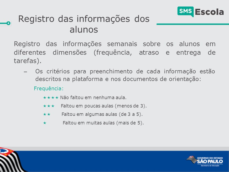 Registro das informações semanais sobre os alunos em diferentes dimensões (frequência, atraso e entrega de tarefas).