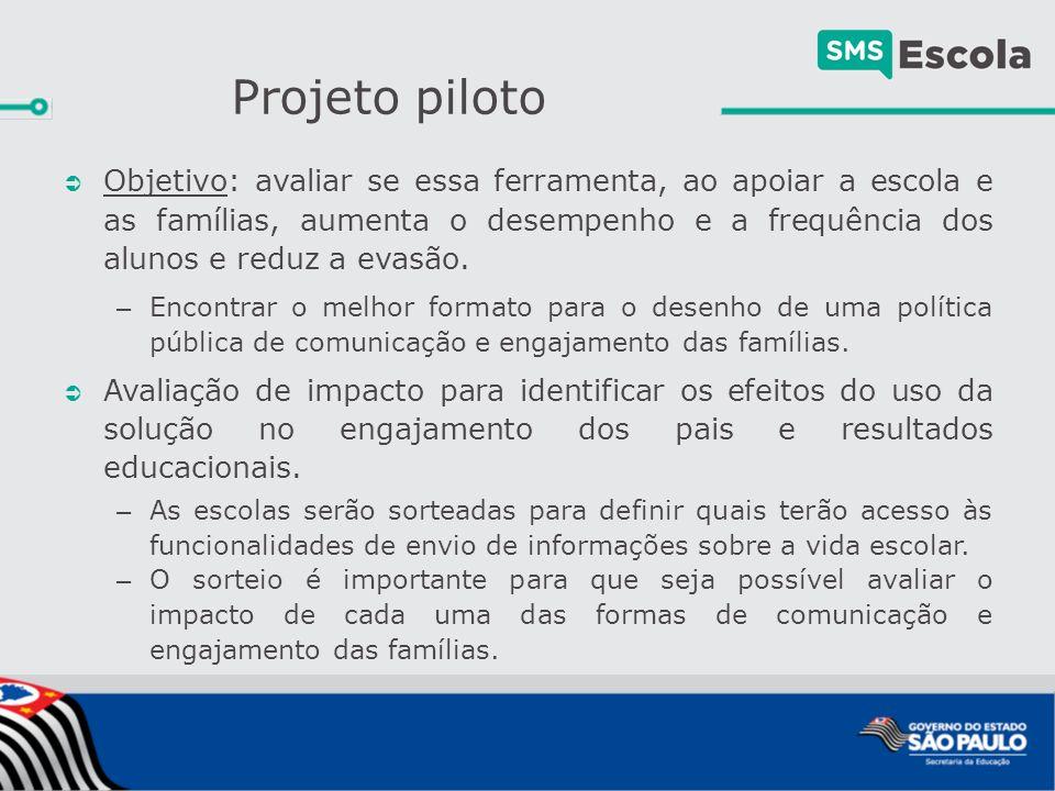 Projeto piloto: grupos  Haverá um primeiro sorteio para definir as escolas que terão acesso à plataforma para: – Registro e envio de informações sobre eventos e atividades escolares.
