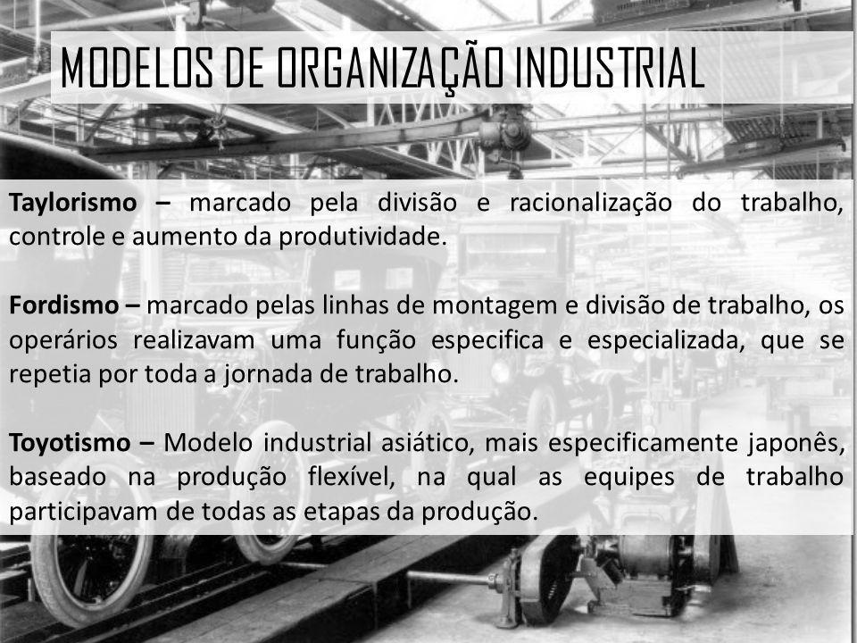 MODELOS DE ORGANIZAÇÃO INDUSTRIAL Taylorismo – marcado pela divisão e racionalização do trabalho, controle e aumento da produtividade.