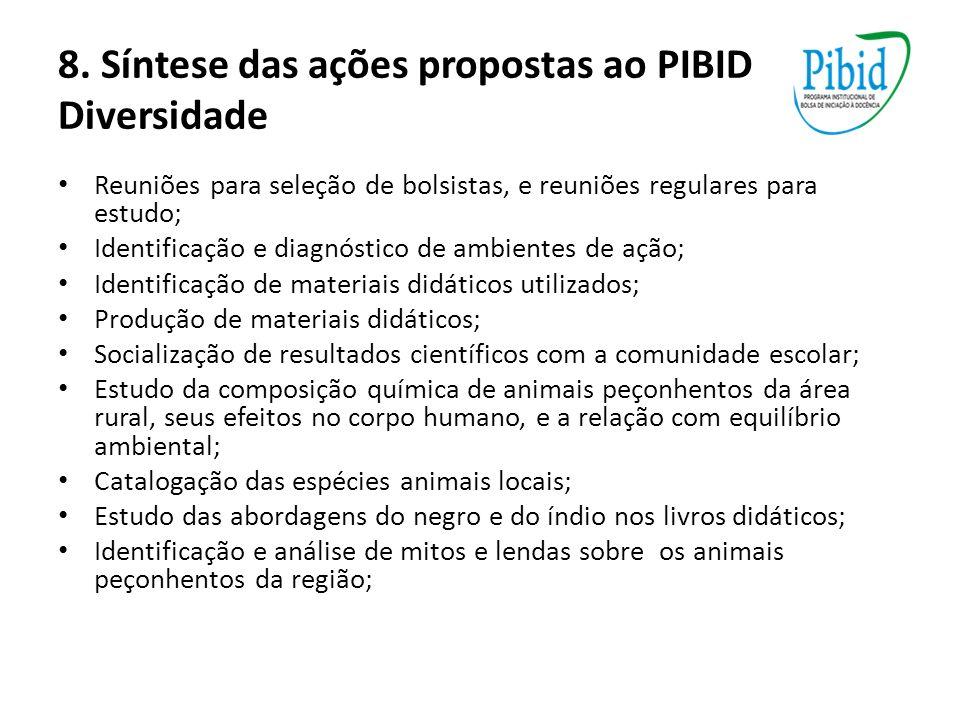 8. Síntese das ações propostas ao PIBID Diversidade Reuniões para seleção de bolsistas, e reuniões regulares para estudo; Identificação e diagnóstico