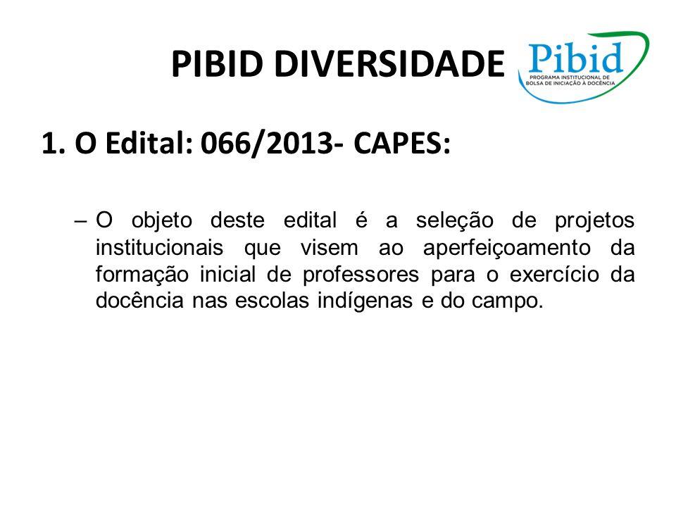 PIBID DIVERSIDADE 1. O Edital: 066/2013- CAPES: –O objeto deste edital é a seleção de projetos institucionais que visem ao aperfeiçoamento da formação