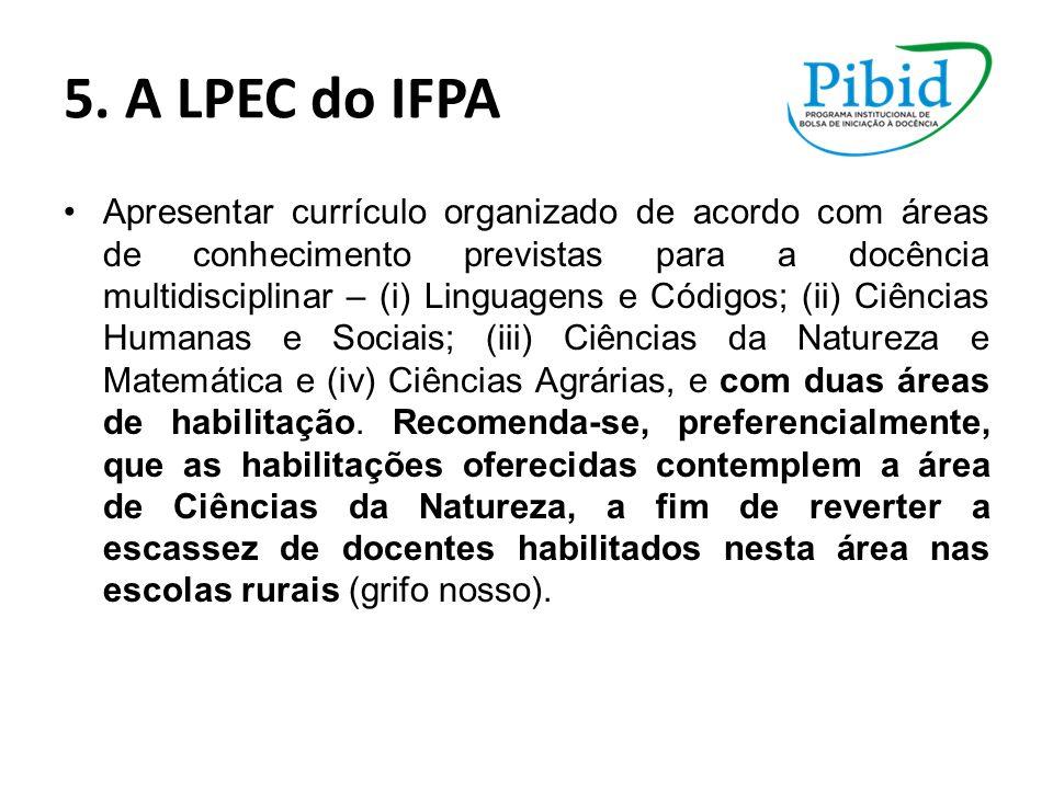 5. A LPEC do IFPA Apresentar currículo organizado de acordo com áreas de conhecimento previstas para a docência multidisciplinar – (i) Linguagens e Có