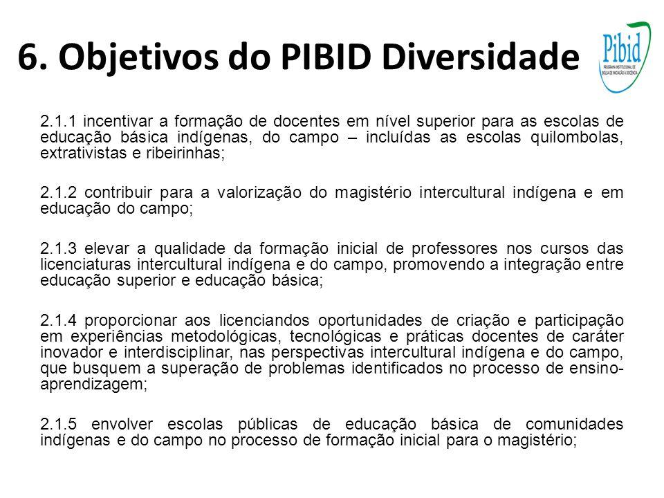 6. Objetivos do PIBID Diversidade 2.1.1 incentivar a formação de docentes em nível superior para as escolas de educação básica indígenas, do campo – i