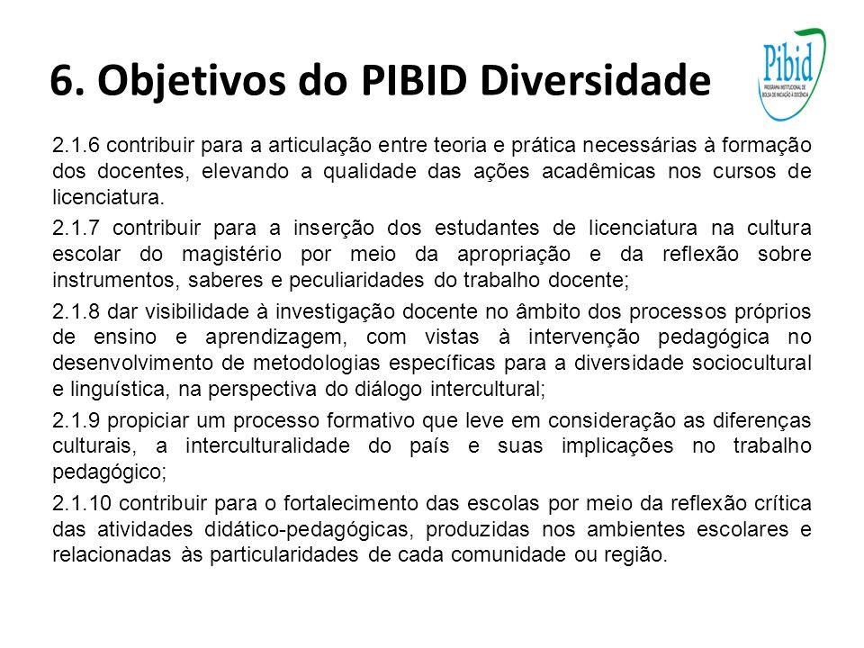 6. Objetivos do PIBID Diversidade 2.1.6 contribuir para a articulação entre teoria e prática necessárias à formação dos docentes, elevando a qualidade