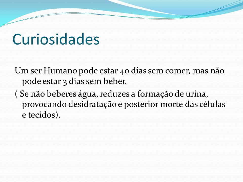 Curiosidades Um ser Humano pode estar 40 dias sem comer, mas não pode estar 3 dias sem beber.