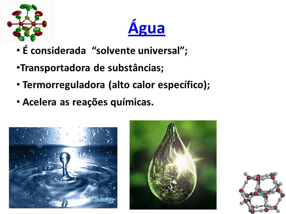 Água É considerada solvente universal ; Transportadora de substâncias; Termorreguladora (alto calor específico); Acelera as reações químicas.
