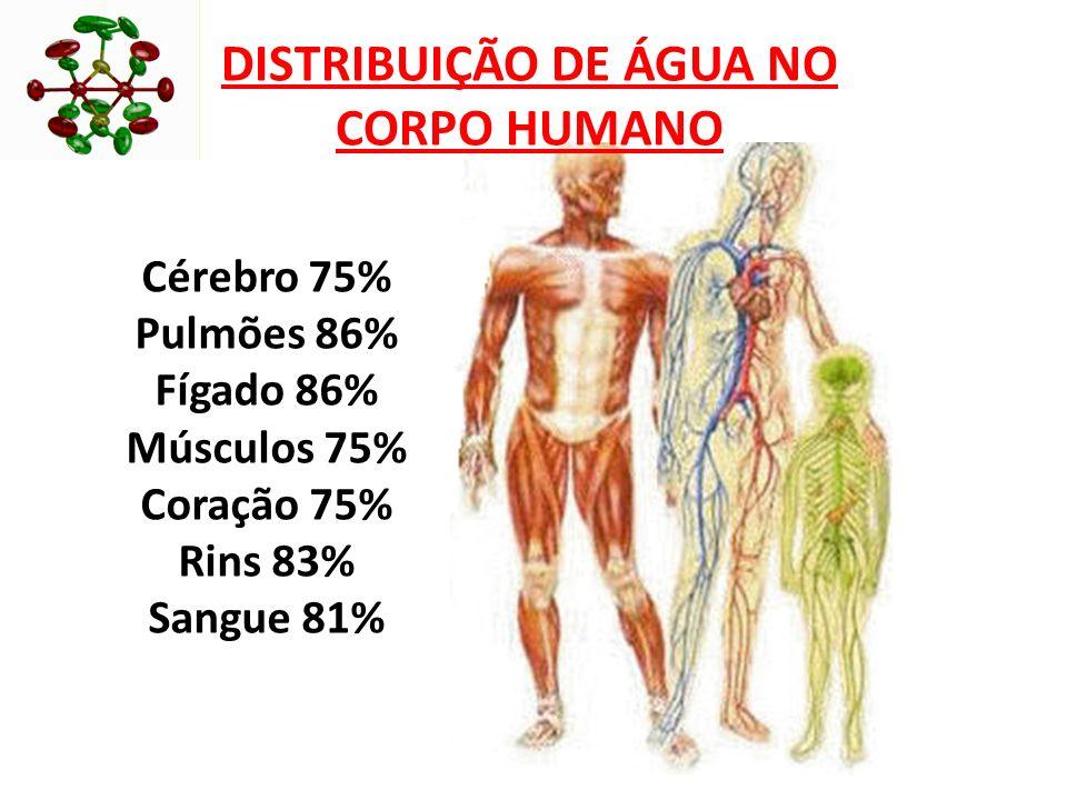 Cérebro 75% Pulmões 86% Fígado 86% Músculos 75% Coração 75% Rins 83% Sangue 81% DISTRIBUIÇÃO DE ÁGUA NO CORPO HUMANO