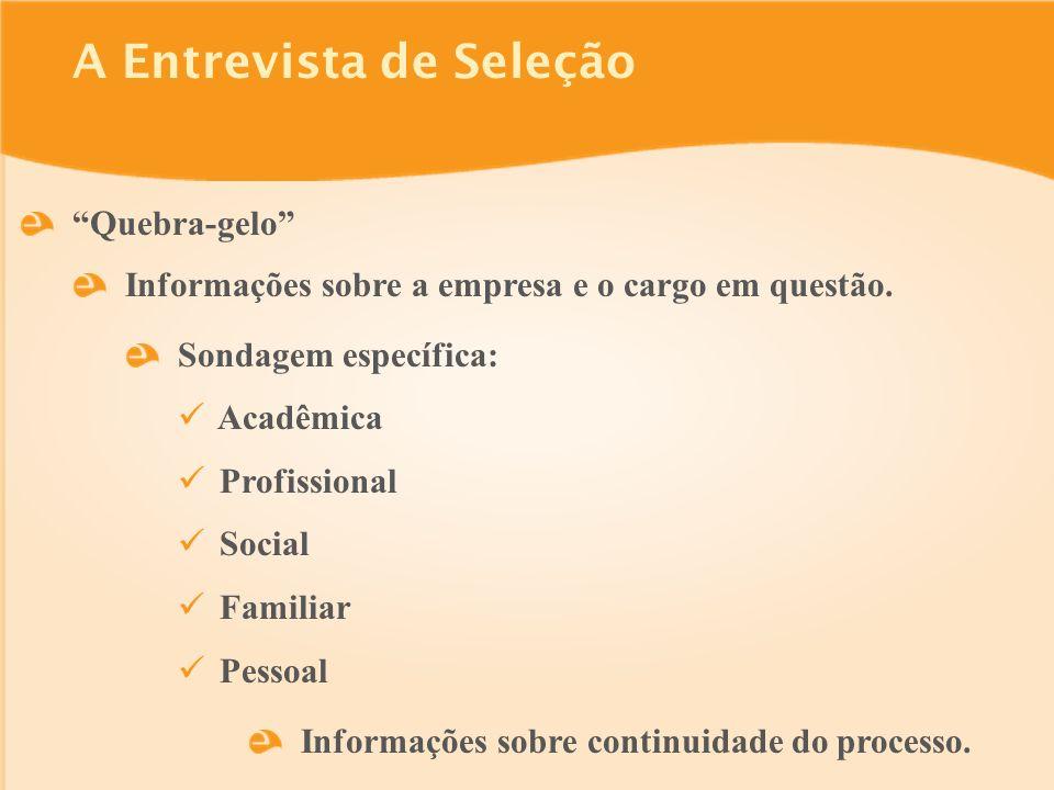 A Entrevista de Seleção Quebra-gelo Sondagem específica: Acadêmica Profissional Social Familiar Pessoal Informações sobre continuidade do processo.