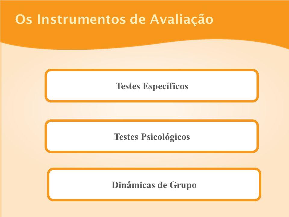 Os Instrumentos de Avaliação Testes Específicos Testes Psicológicos Dinâmicas de Grupo