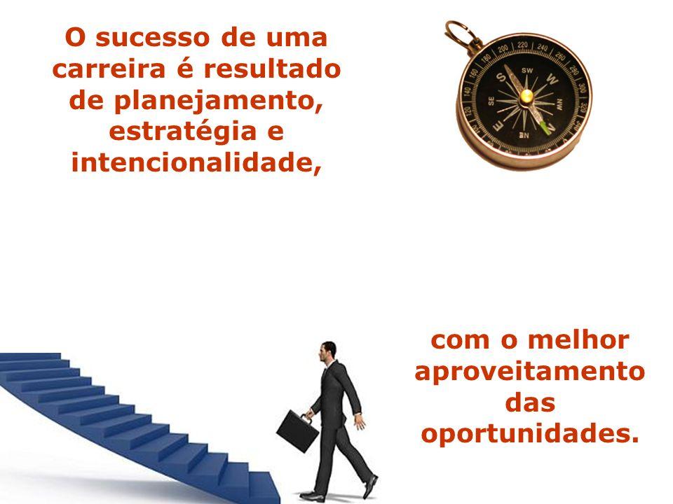O sucesso de uma carreira é resultado de planejamento, estratégia e intencionalidade, com o melhor aproveitamento das oportunidades.