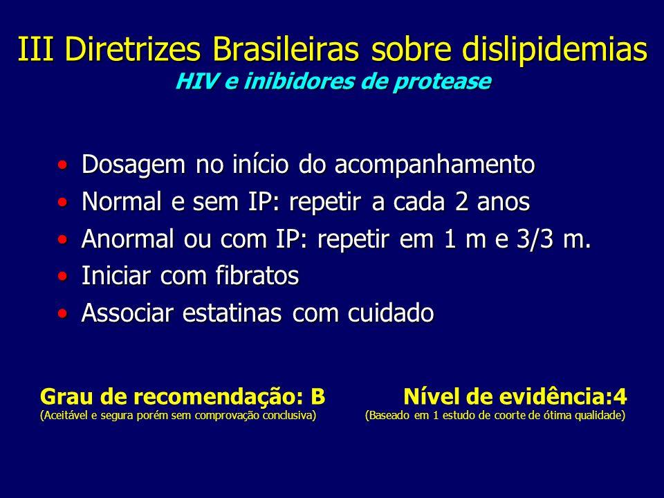 III Diretrizes Brasileiras sobre dislipidemias HIV e inibidores de protease Dosagem no início do acompanhamentoDosagem no início do acompanhamento Normal e sem IP: repetir a cada 2 anosNormal e sem IP: repetir a cada 2 anos Anormal ou com IP: repetir em 1 m e 3/3 m.Anormal ou com IP: repetir em 1 m e 3/3 m.