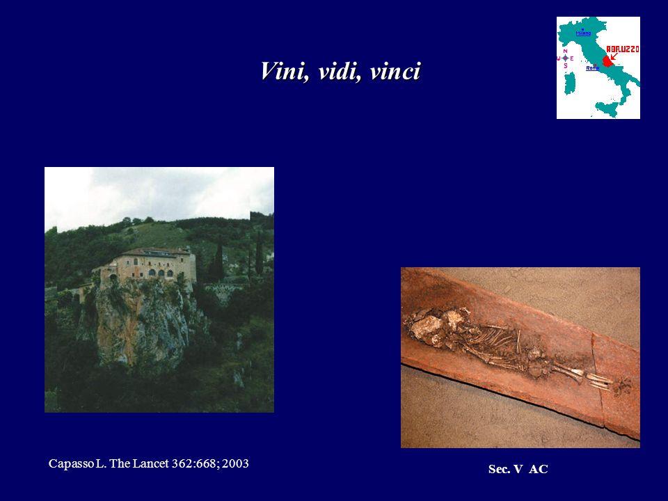 Vini, vidi, vinci Capasso L. The Lancet 362:668; 2003 Sec. V AC
