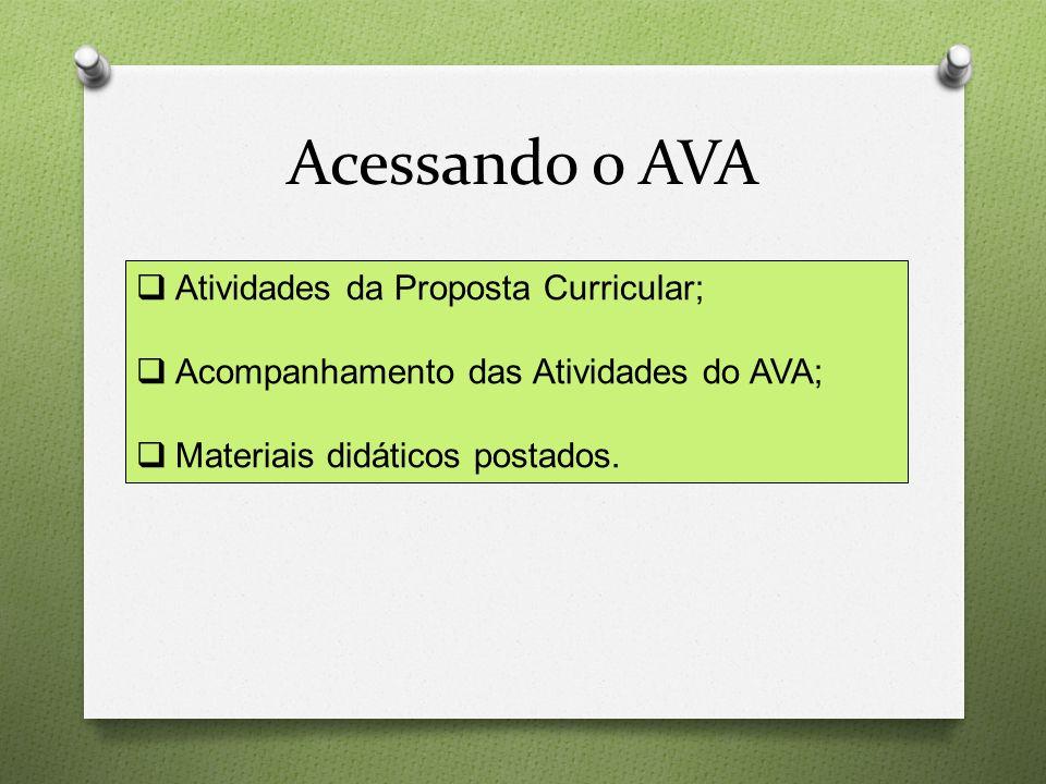 Acessando o AVA  Atividades da Proposta Curricular;  Acompanhamento das Atividades do AVA;  Materiais didáticos postados.