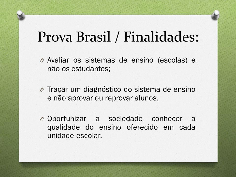 Prova Brasil / Finalidades: O Avaliar os sistemas de ensino (escolas) e não os estudantes; O Traçar um diagnóstico do sistema de ensino e não aprovar