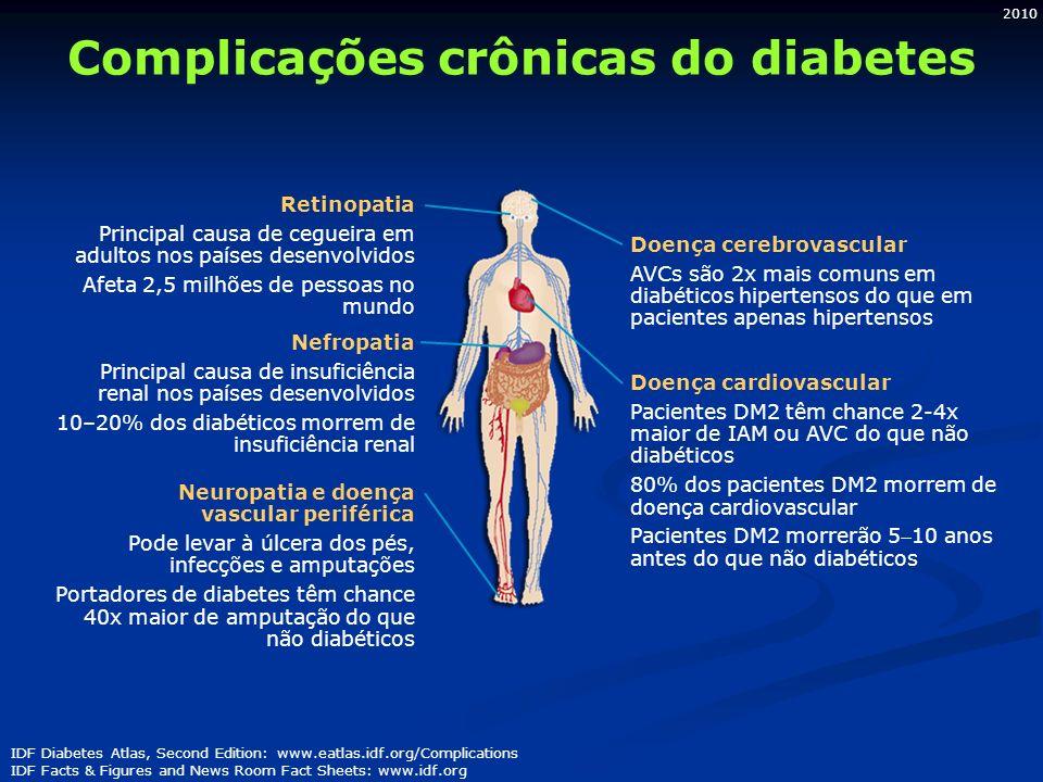 2010 Complicações crônicas do diabetes IDF Diabetes Atlas, Second Edition: www.eatlas.idf.org/Complications IDF Facts & Figures and News Room Fact She