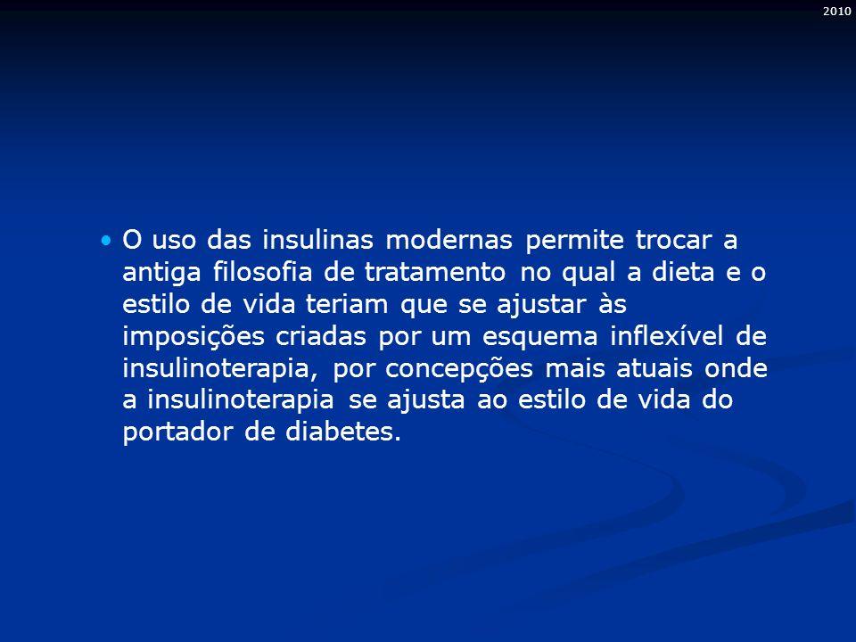 2010 O uso das insulinas modernas permite trocar a antiga filosofia de tratamento no qual a dieta e o estilo de vida teriam que se ajustar às imposições criadas por um esquema inflexível de insulinoterapia, por concepções mais atuais onde a insulinoterapia se ajusta ao estilo de vida do portador de diabetes.