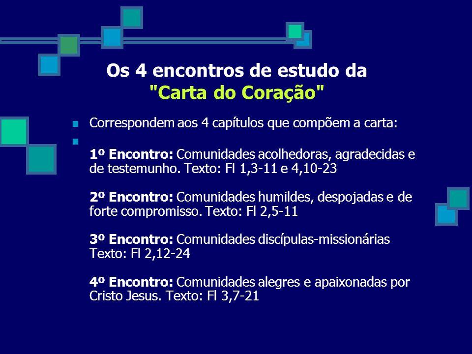 Os 4 encontros de estudo da Carta do Coração Correspondem aos 4 capítulos que compõem a carta: 1º Encontro: Comunidades acolhedoras, agradecidas e de testemunho.