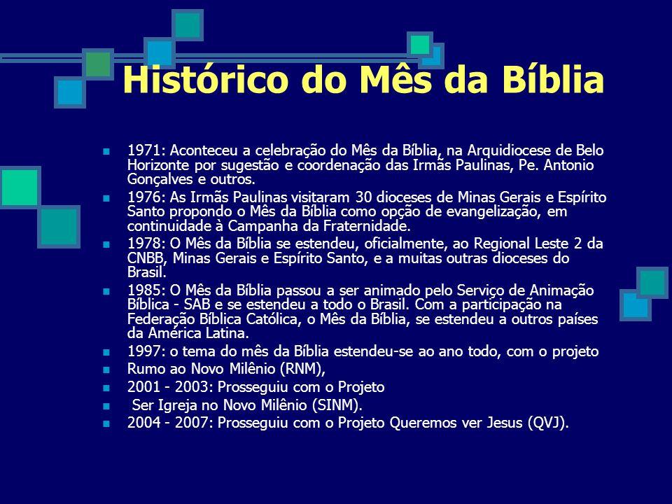 Temas do Mês da Bíblia de 1971 a 2006 1971 Bíblia, Jesus Cristo está aqui 1972 Deus acredita em você 1973 Deus continua acreditando em você 1974 Bíblia, muito mais nova do que você pensa 1975 Bíblia, palavra nossa de cada dia 1976 Bíblia.