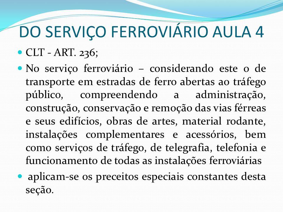 DO SERVIÇO FERROVIÁRIO AULA 4 CLT - ART.