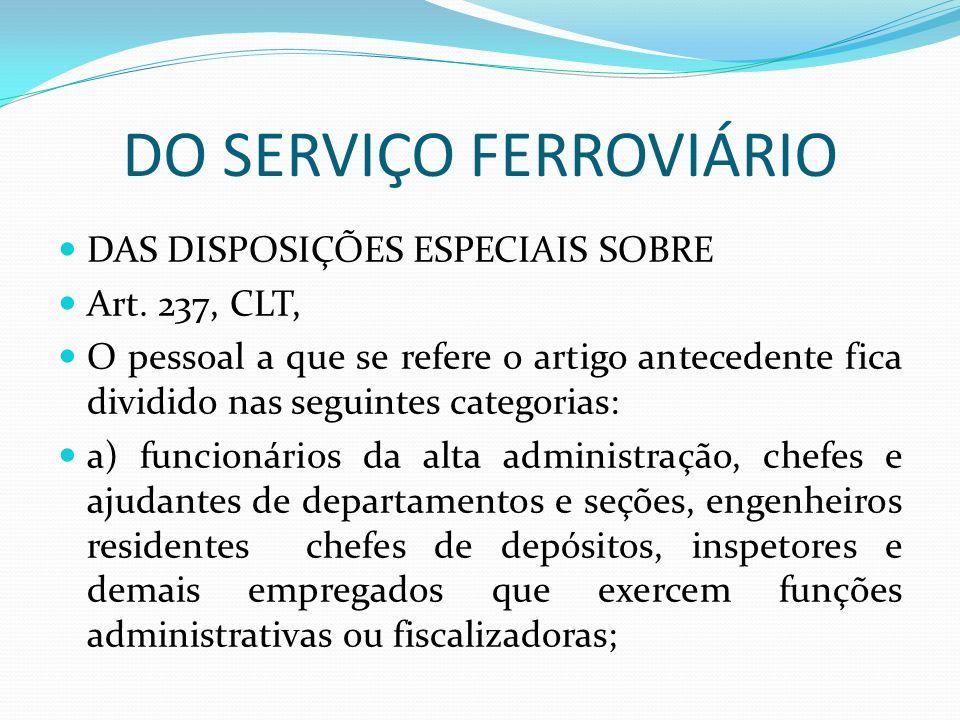 DO SERVIÇO FERROVIÁRIO DAS DISPOSIÇÕES ESPECIAIS SOBRE Art.